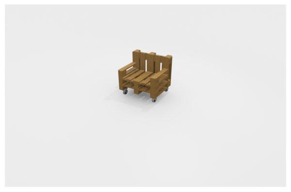 Europaletten Lounge Sessel Eiche lasiert mit Rollen