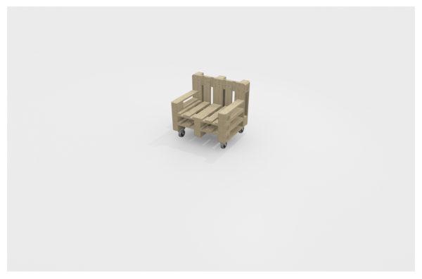 Europaletten Lounge Sessel sägerau geschliffen farblos lasiert mit Rollen
