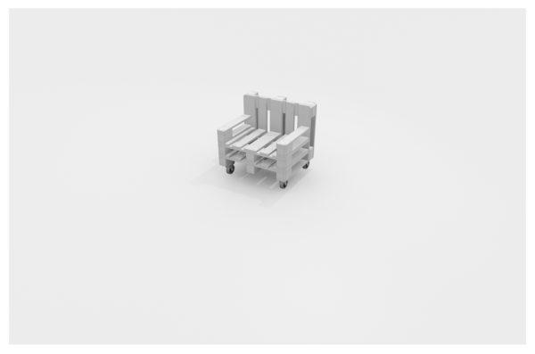 Europaletten Lounge Sessel weiß lackiert mit Rollen